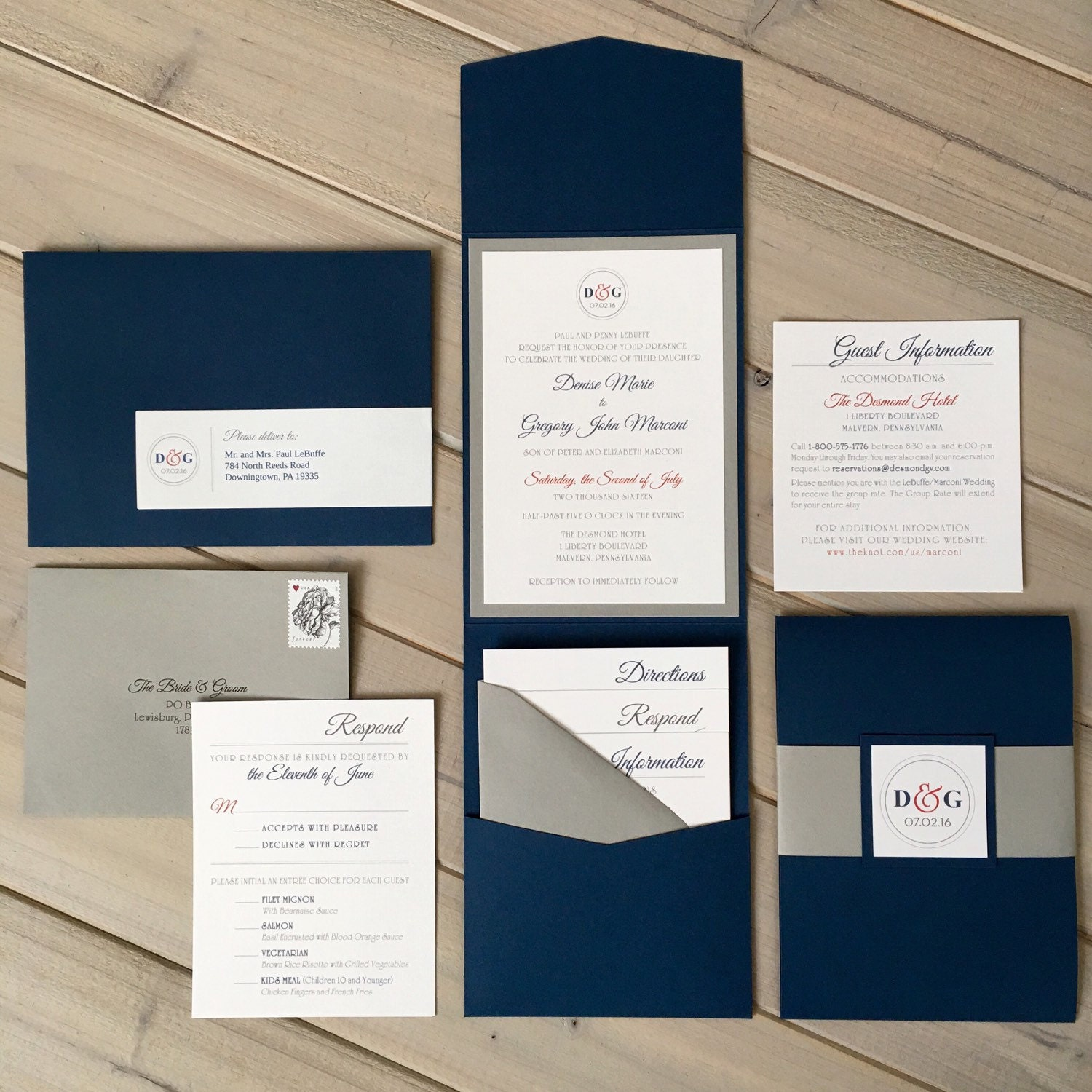 Red White And Blue Wedding Invitations Navy And Gray Wedding