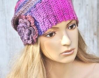 Crochet Hat Colorful Crochet Beanie Blue hat Pink hat  Women's crochet Outerwear Women accessories- Adult Teen - Comfortable