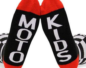 Checkered Flag Moto Kids Crew Socks