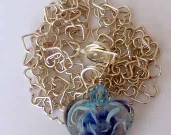 Blue Boro Heart,  920 Heart Chain, Sterling Silver Heart Chain,  Boro Lampwork Heart Necklace, Boro Lampwork Heart, Glass Heart, Swirled