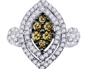 14k Marquise-Shaped Champagne Diamond Ring