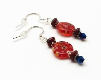 Millefiori Earrings, Glass Earrings, Red  Earrings, Flower Earrings, Dangle Earrings, Flower Jewelry, Gift for Her