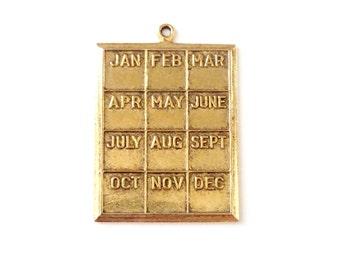 Vintage Calendar Months of the Year Plaque Charm Pendant