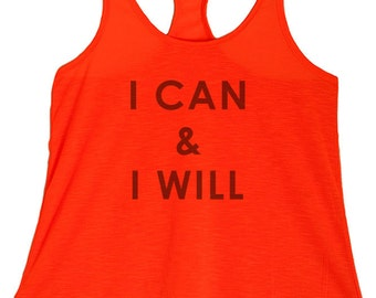 Women's PLUS I Can and I Will Graphic Print Polyester Tank Tops- 1XL ~ 3XL  (pl-066-tp)