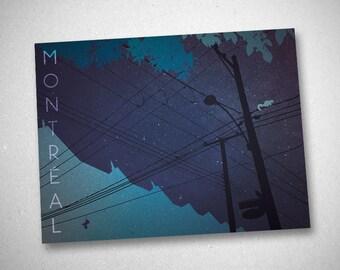 """Postcard blue and violet de Montréal (""""Montréal I - I"""")"""