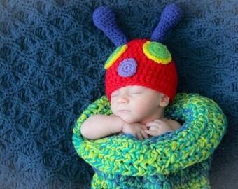 Crochet hungry caterpillar cocoon - newborn cocoon - baby cocoon - crochet newborn photo prop - baby boy photo prop - baby girl photo prop