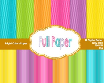 Bright Colors-Digital Paper-Paper Supplies-Paper invite-Paper colors-Paper Birthday-Digital paper Decor