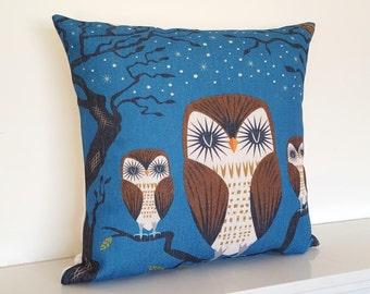 "Blue Owl Retro/Modern/Nordic Cotton Linen Cushion/Pillow Cover 18 x 18"""