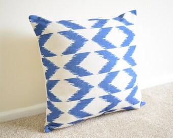"Blue Lattice/Geometric/Scandinavian Cotton Linen Cushion/Pillow Cover 18 x 18"""
