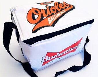 Vintage Baltimore Orioles & Budweiser Beer Insulated Zippered Six-Pack Tote, MINT Condition, c. 1980's