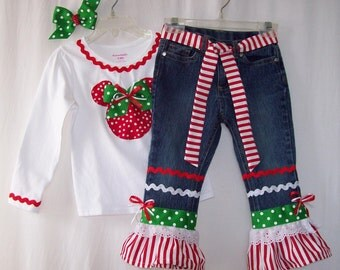 Custom boutique Disney Mickey Minnie Mouse Christmas jeans & shirt all sizes
