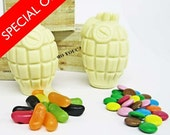 SPECIAL OFFER White chocolate hand grenades with coated chocolate buttons (smarties) and jelly beans