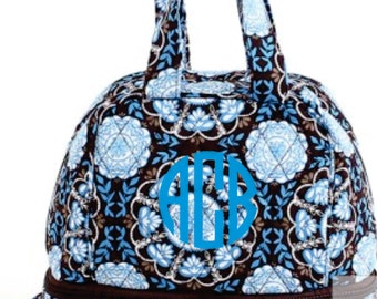 Monogram Turquoise Floral Quilted Lunch Bag