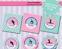 Gymnastic cupcake topper, CHOOSE YOUR COLORS,  Party favors, Cake topper, Birthday party favor, Topper Gymnastic Tag, Tumble Party Favor tag