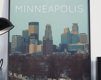 Minneapolis, Minnesota Illustration Poster 11x17 18x24 24x36