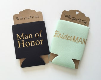 Man of Honor | BridesMAN Can Cooler | Personalized Monogram One Can Cooler