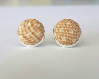 Tan and cream spotty fabric button stud earrings