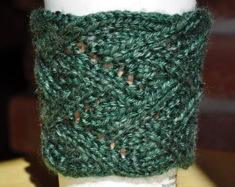 Green Lace Knit Coffee Cup Sleeve