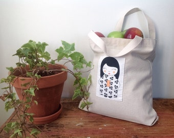 Cotton tote bag - Little Japanese Doll - Kokeshi - Shashiko