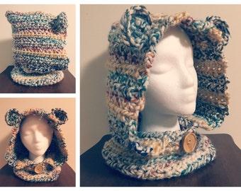 Crochet hooded cowl, crochet cowl, hooded cowl with ears, winter cowl, winter hat, neck warmer, kids cowl, adult cowl