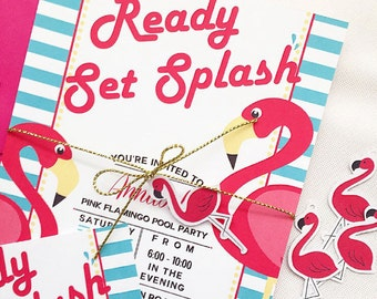 Pink Flamingo Pool Party Invitations. Birthday. Wedding. Bridal Shower, Baby Shower. Engagement. Physical and Digital Field