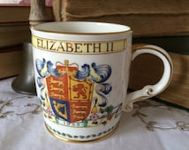 Queen Elizabeth II Coronation Mug Commemorating her Coronation in  Westminster Abbey in 1953.  Foley Bone China