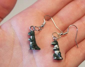 FREE SHIPPING Mini Green Tyrannosaurus Rex Ceramic Dinosaur Bead Earrings / Gift for Dino Lover