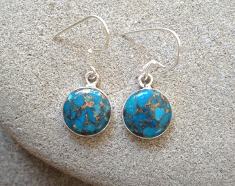 925 sterling silver earrings / Blue Copper Turquoise gemstone earrings