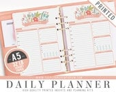 A5 Daily Planner Inserts (PRINTED) - ROSA Collection - Kikki K Large Filofax A5 Sized Paper Planner - Hole Punch Optional - Cover Optional