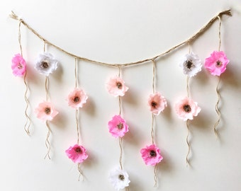 Boho Paper Flower Wall Hanging-Nursery Wall Decor-Dorm Wall Hanging-Flower Wall Hanging-Paper Flower Art