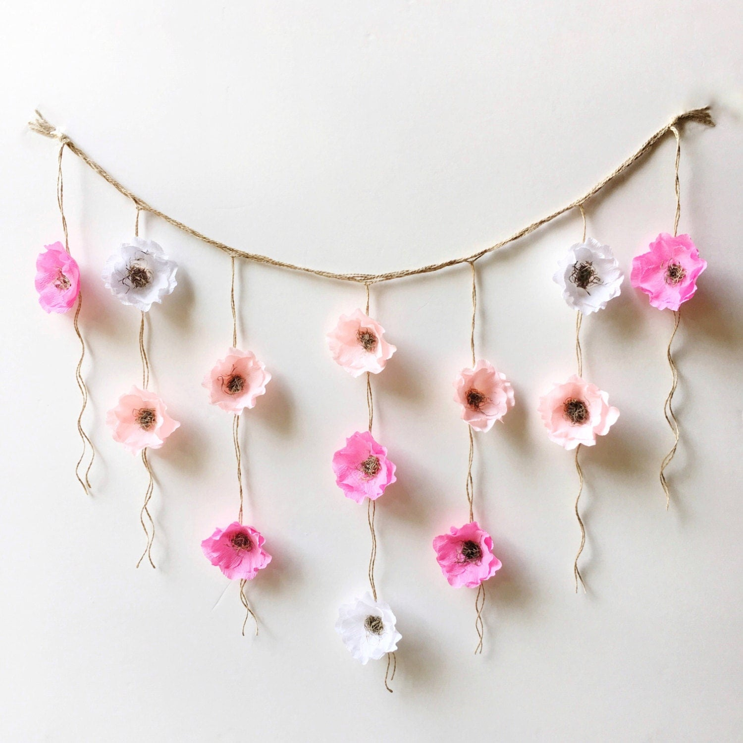 Wall Decoration Paper Flowers : Boho paper flower wall hanging nursery decor dorm