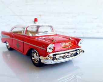 Attrayant 1957 CHEVROLET CHEVY Bel Air Fire Dept , Metal Toy Car Model. Lovely  Collectible