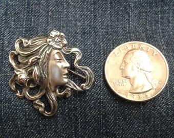 Vintage Sterling Silver Art Nouveau Style Brooch