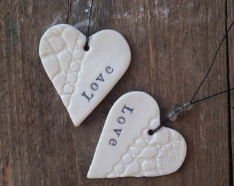 Handmade porcelain love heart decorationrr