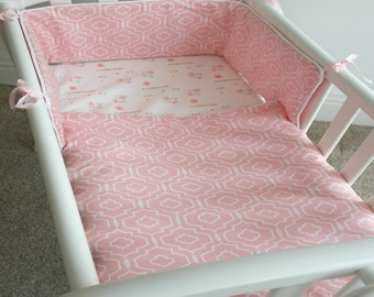 Swinging Crib Baby bedding set - Crib Bumper & Blanket - Baby Girl bedding set - Immediate dispatch - ready made - 2 Piece Baby bedding