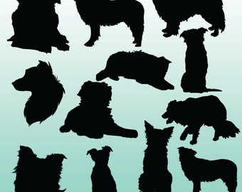 12 Border Collie Silhouettes Digital Clipart Images, Clipart Design Elements, Instant Download, Black Silhouette Clip art