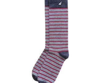 "Dark Grey / Red / White Men's Dress / Casual Stripe Socks - Unique Fun Crazy Colorful - ""Sidekick"" Christmas Holiday Stocking Stuffer"