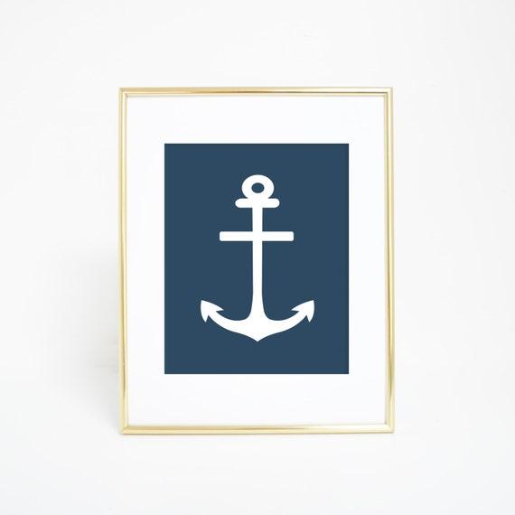 Nautical Prints, Nautical Printables, Printable Wall Art, Nursery Print Anchor Art, Navy Blue Print, Anchor Print, Digital Print