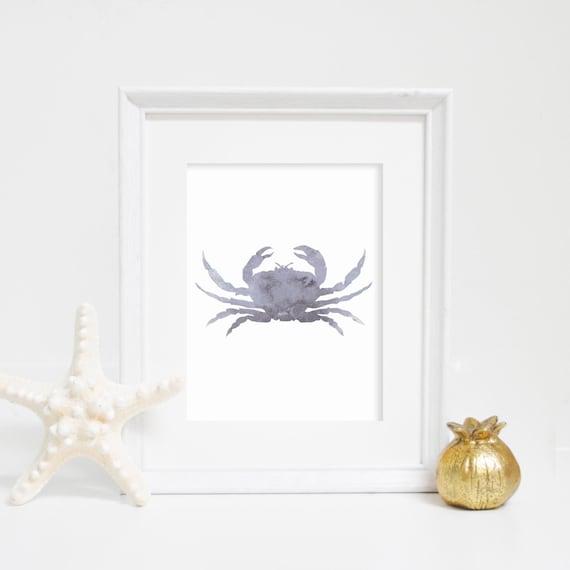 Gray Nautical Print, Crab Wall Art, Crab Print, Beach House Decor, Bathroom Decor, Nautical Wall Art, Watercolor Poster, Nursery Print