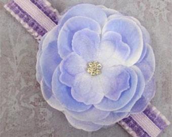Lavender Jeweled Rose Flower Newborn Headband Photo Prop