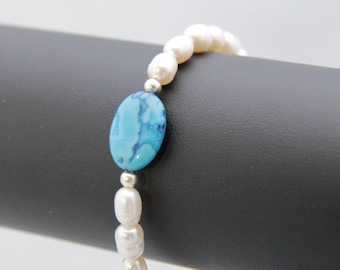 White Freshwater Pearl and turquoise Agate bracelet