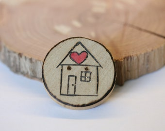 Home Is Where The Heart Is handpainted red heart natural woodburned wooden button for crochet, knitting and crafts