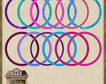 12 Bright & Modern Circle Frames *Instant Download*