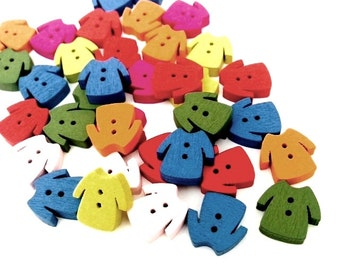 CLOSING SALE 60 pcs Dress-Shaped Buttons, Mini Wooden Buttons, Scrapbooking Buttons, Mixed Color, 2 Holes, BOUT 019