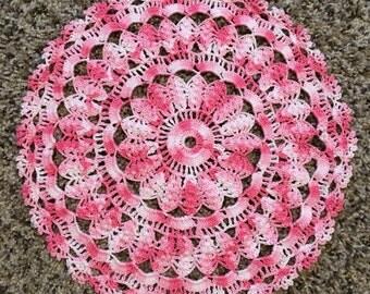 11 inch Pink & White Cotton Doily