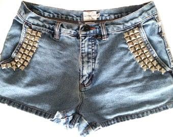 CALVIN KLEIN VINTAGE Studded Denim Shorts