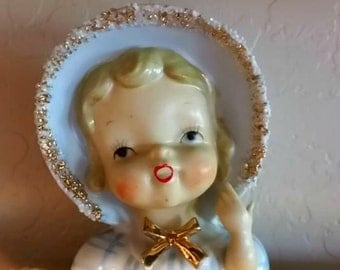Vintage Child Head Vase Wales Ceramic Mid Century  Precious Gift for Baby or Girl