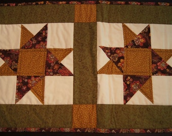 Stars in Squares – QUILTED TABLE RUNNER – Autumn Colors
