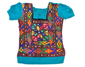 SPECIAL-50% OFF - Girl's Emerald Green Top with hand embroidery and mirrors