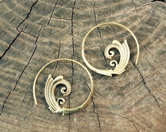 SALE! Spiral Earrings. Brass. Tribal jewelry. Indian earrings. Boho. India handcraft